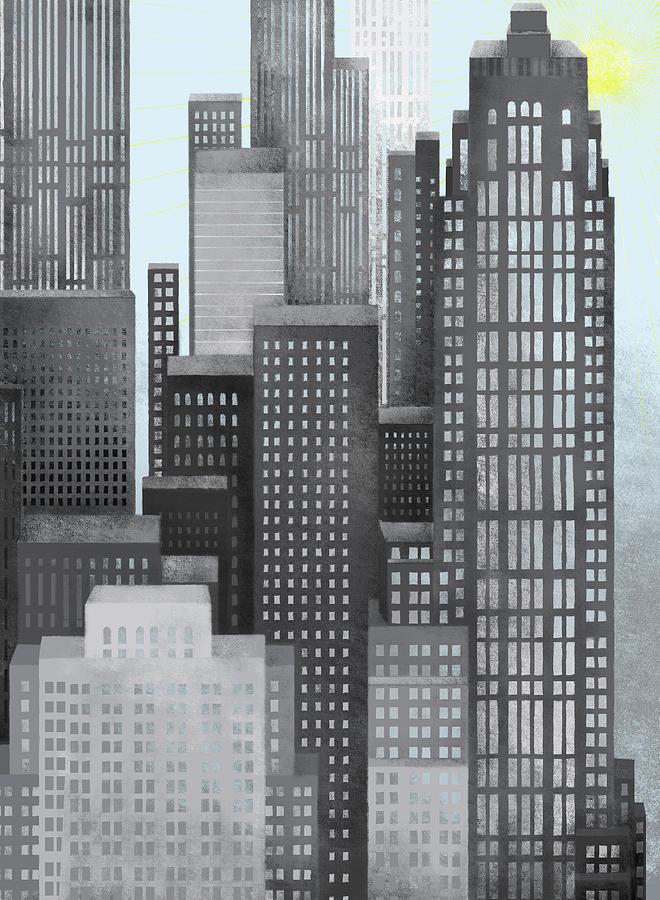 Sun And Skyscrapers Digital Art