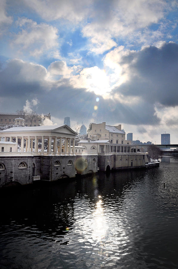Sun Burst Over The Fairmount Water Works Photograph  - Sun Burst Over The Fairmount Water Works Fine Art Print
