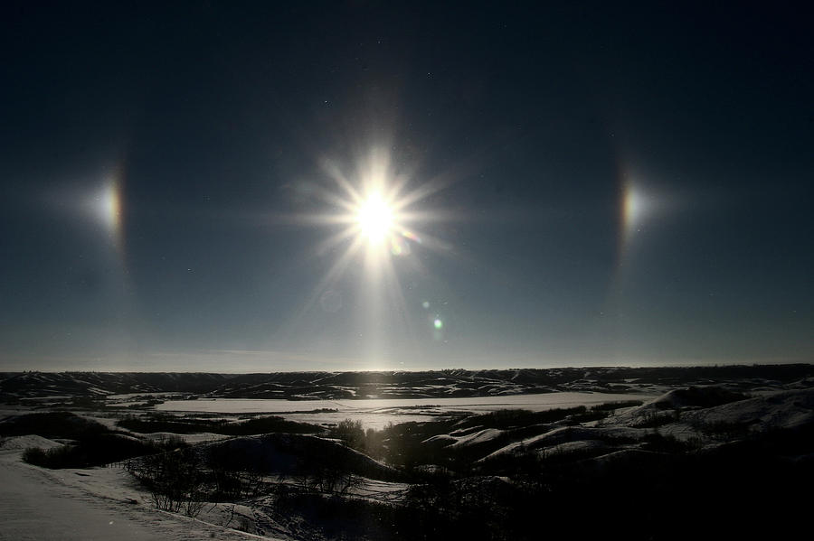 Sun Dogs Besides Settig Sun Digital Art  - Sun Dogs Besides Settig Sun Fine Art Print