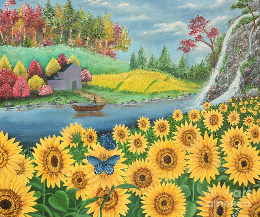 sunflower garden eartsteam fineartamerica sun flower garden eartsteam jpg - Simple Flower Garden Paintings