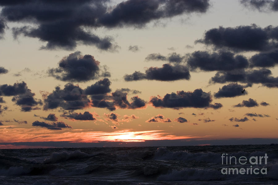 Sun Setting With Dramatic Clouds Over Lake Michigan Photograph