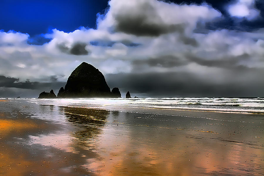 Sun Shining On Haystack Rock Photograph
