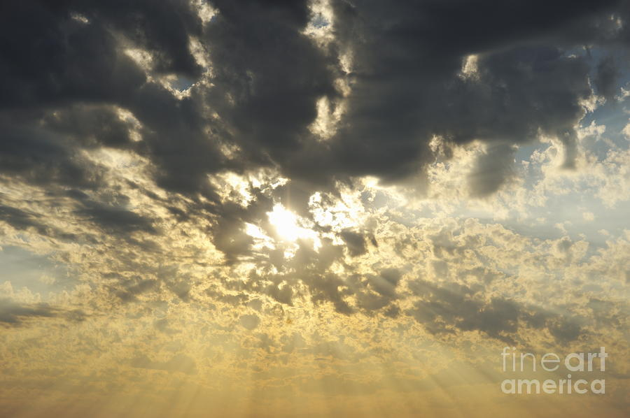 Sun Shining Through Clouds At Sunset Photograph  - Sun Shining Through Clouds At Sunset Fine Art Print
