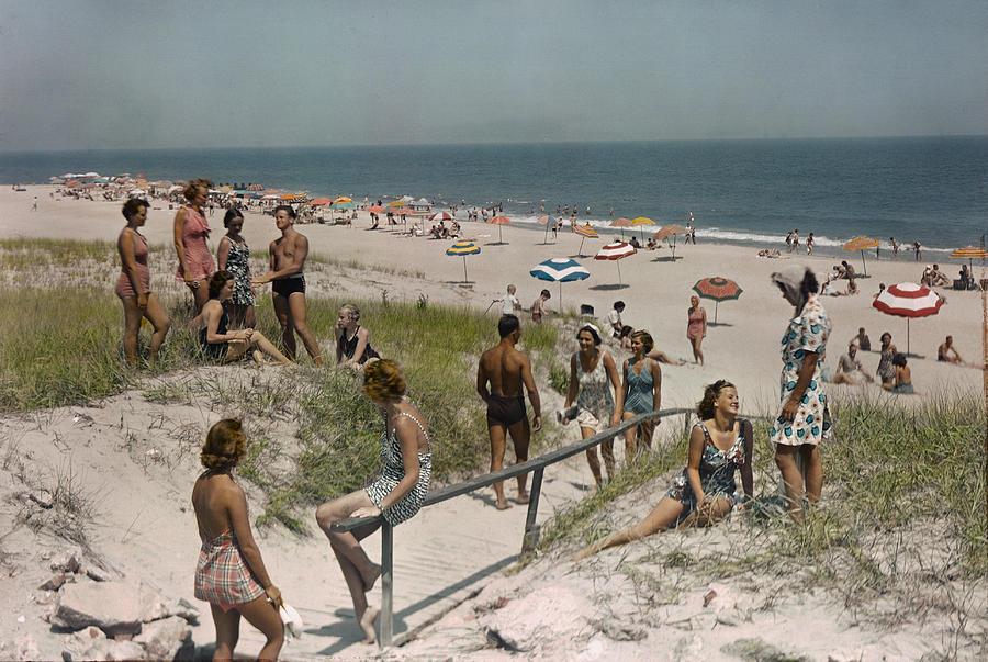 Sunbathers And Beach Umbrellas Dot Photograph