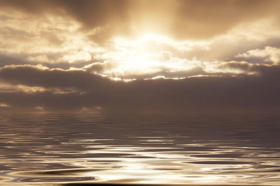 Sunburst Over Water Photograph