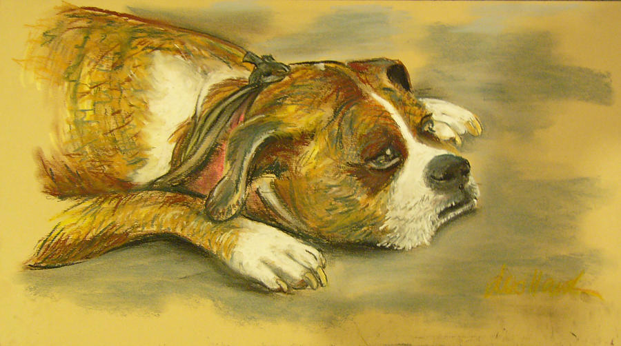 Sunday Arts Fair Dog In A Mood Pastel  - Sunday Arts Fair Dog In A Mood Fine Art Print