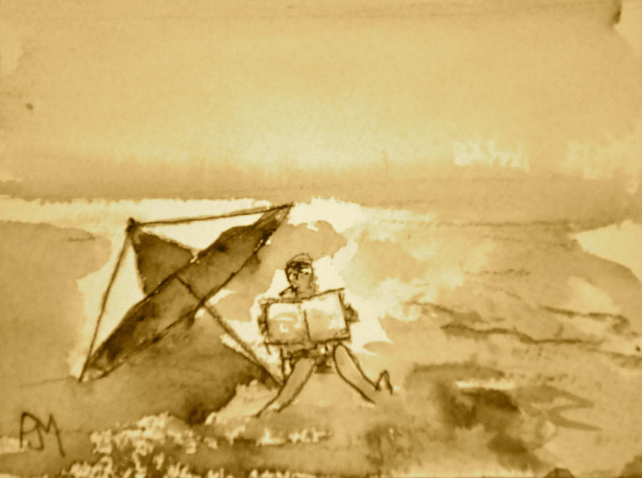 Ocean Painting - Sunday Mornin Sepia by Pete Maier