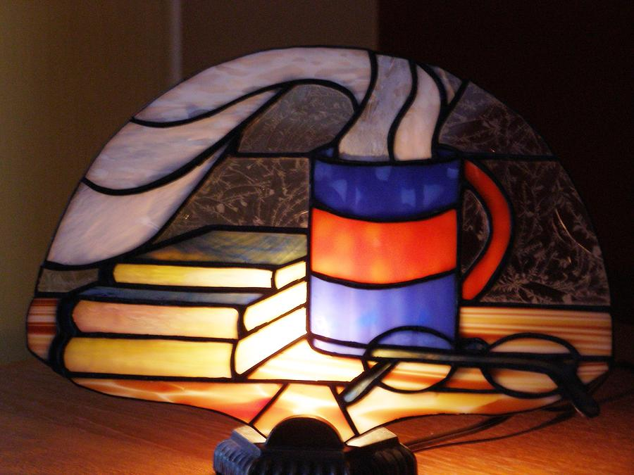 Fan Lamp Glass Art - Sunday Morning Lamp by Shelly Reid