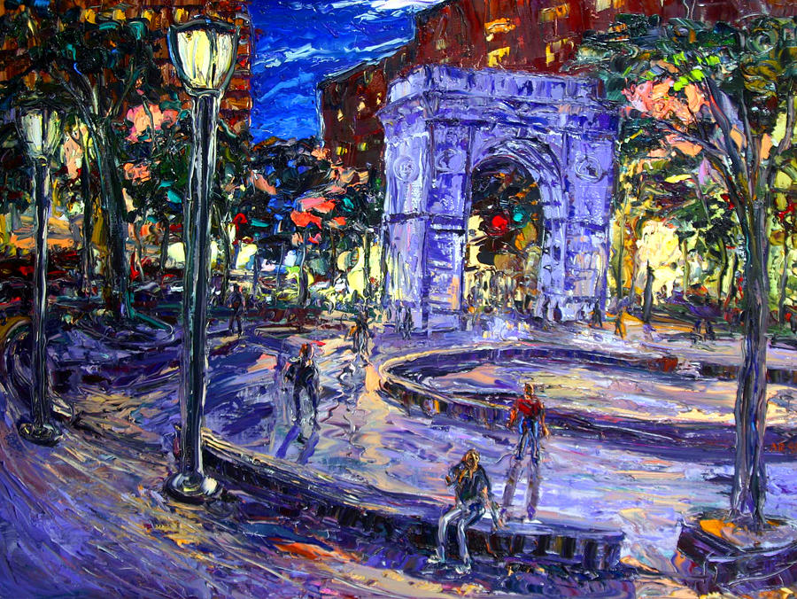 Sunday Night In Washington Square Park Painting  - Sunday Night In Washington Square Park Fine Art Print