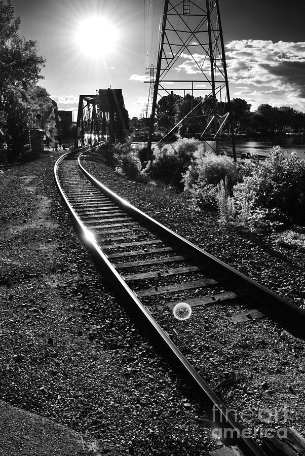 Sundown Gleaming Off The Rails Photograph