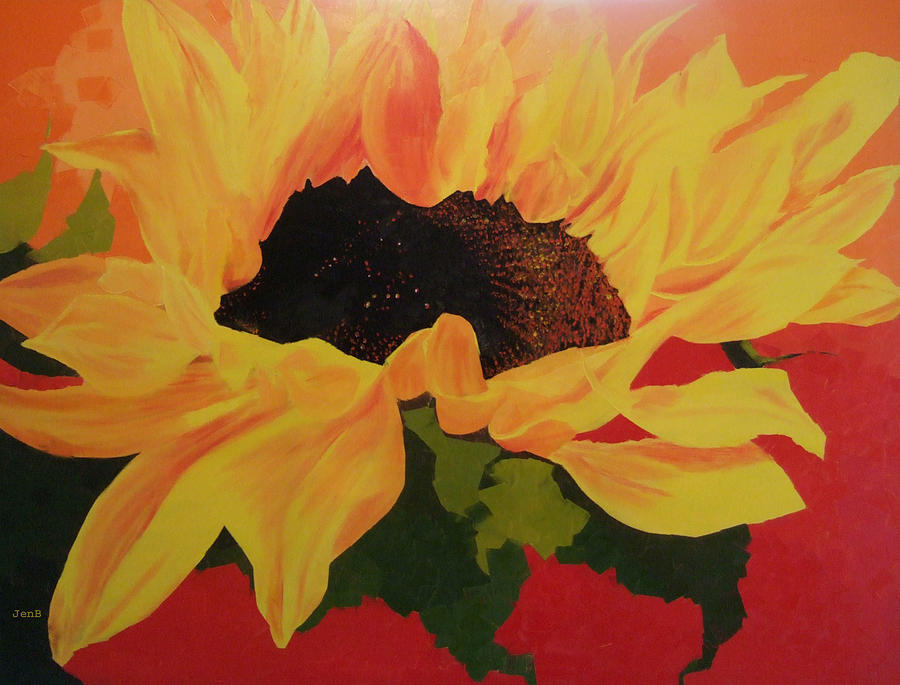 Sunflower At Sunset Painting  - Sunflower At Sunset Fine Art Print