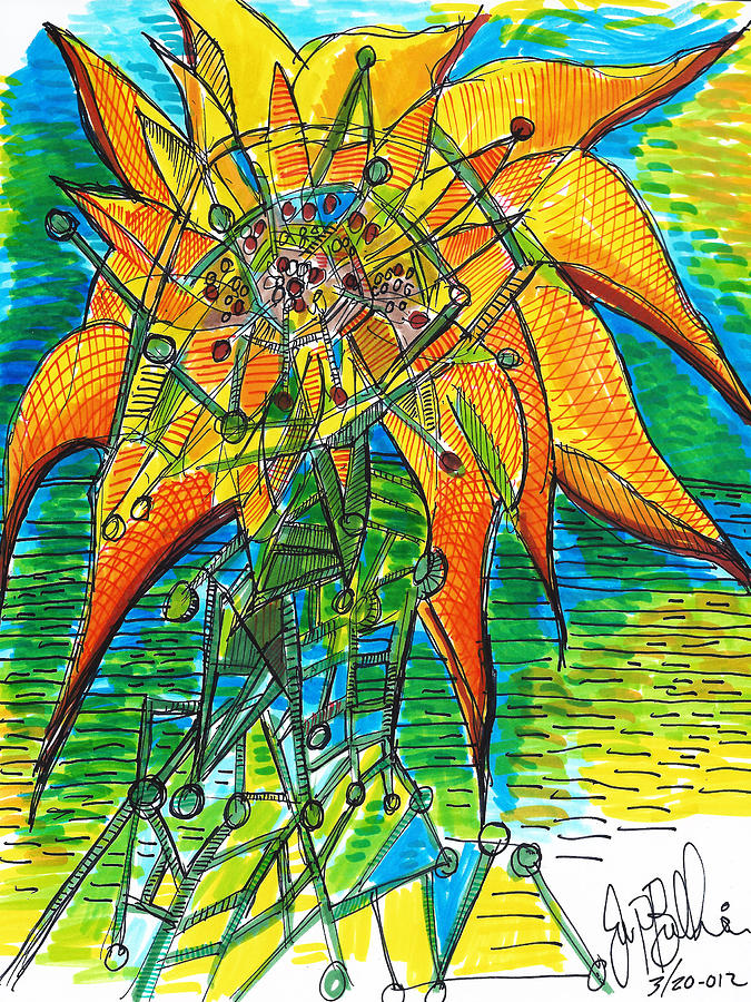 Sunflower Construction Drawing  - Sunflower Construction Fine Art Print