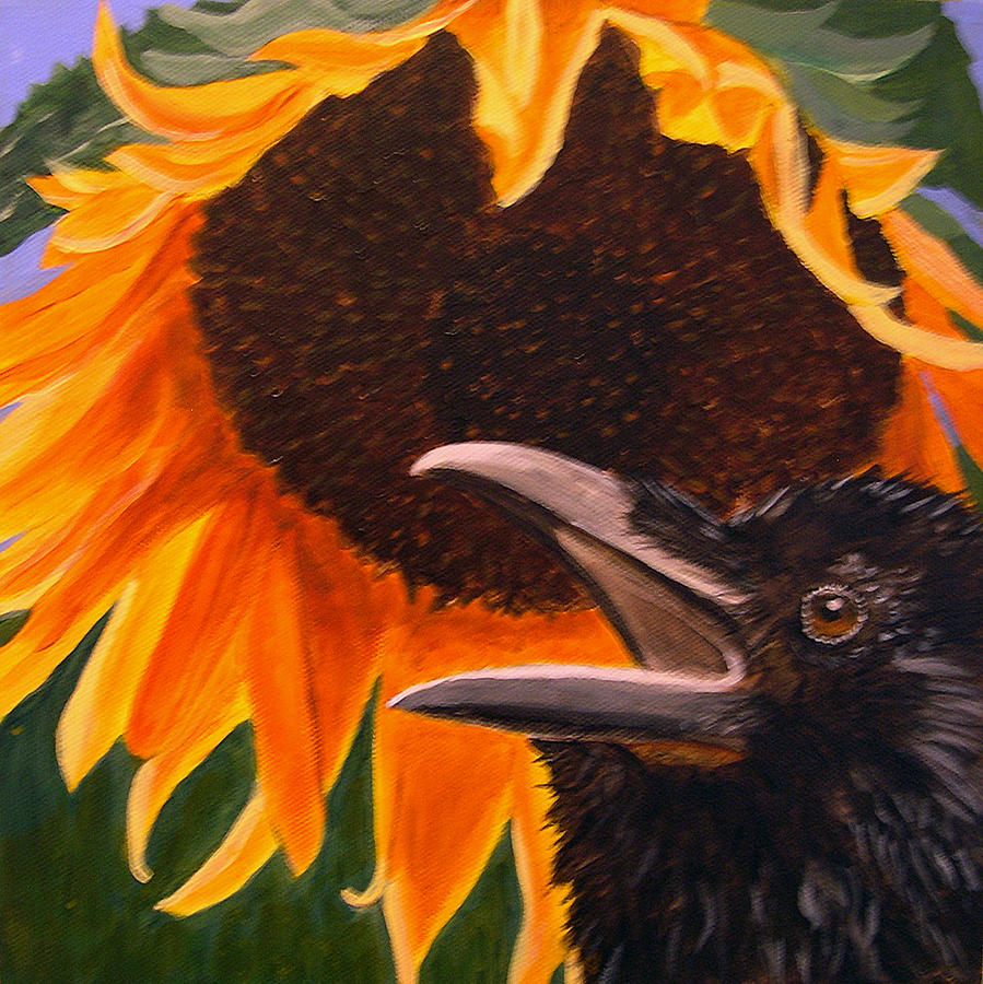 Baby Crow Painting - Sunflower Crow by Kathleen A Johnson