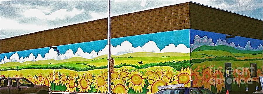 Sunflower exterior mural painting by jennifer little for Exterior mural painting