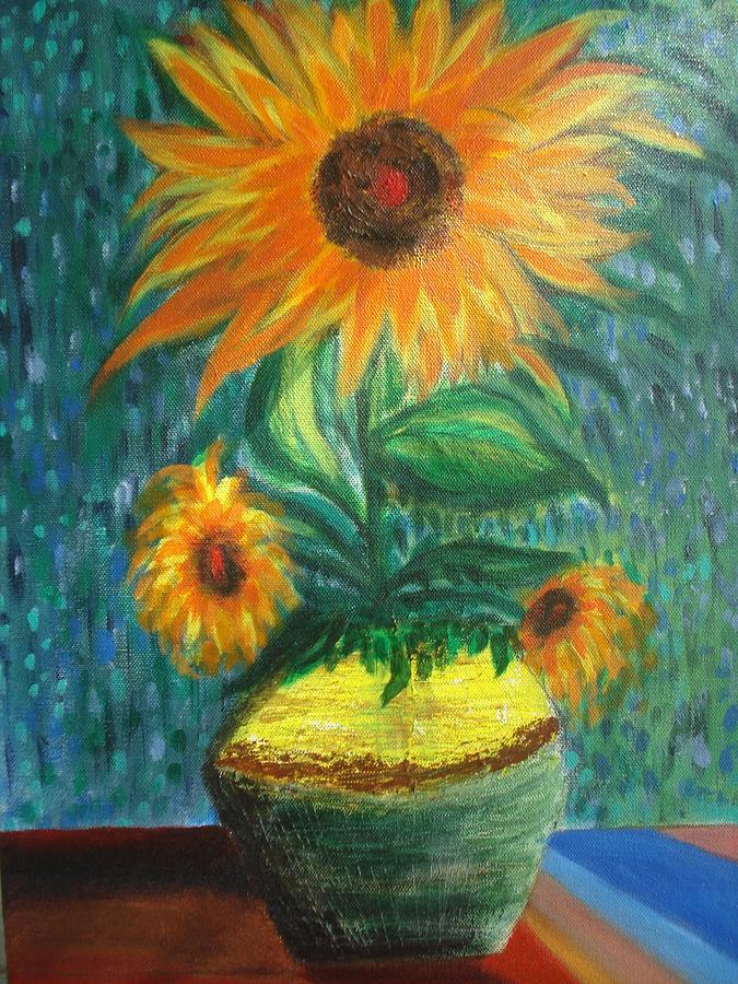 Vase Painting - Sunflower In A Vase by Prasenjit Dhar