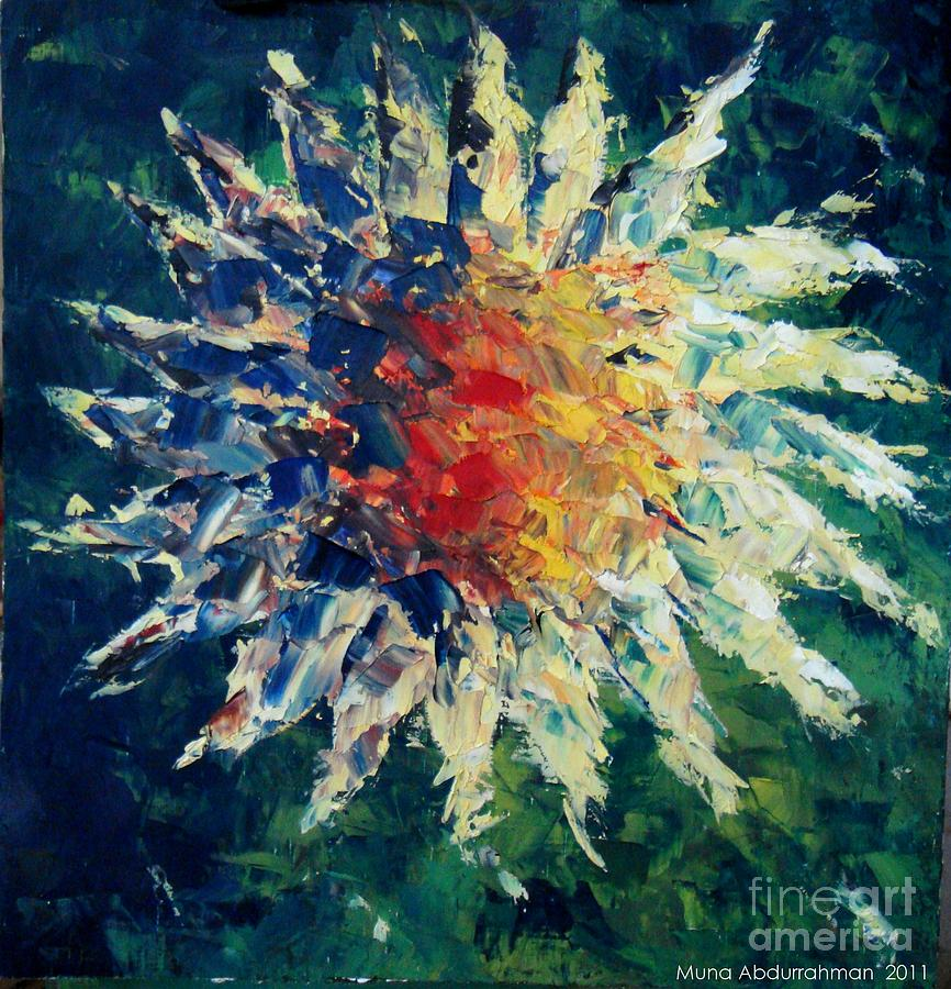 Oil Painting Sunflower Flower Plants Abstract Painting - Sunflower by Muna Abdurrahman