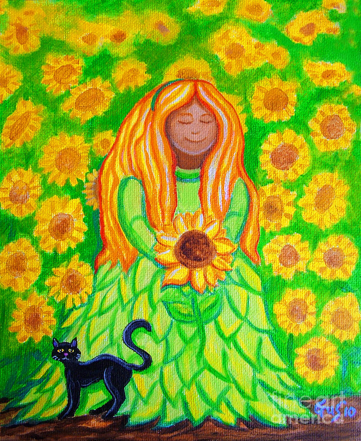 Sunflower Princess Painting  - Sunflower Princess Fine Art Print