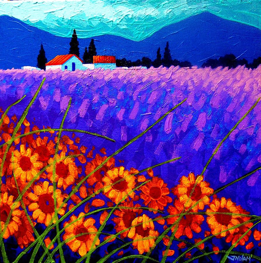 France Painting - Sunflower Vista by John  Nolan