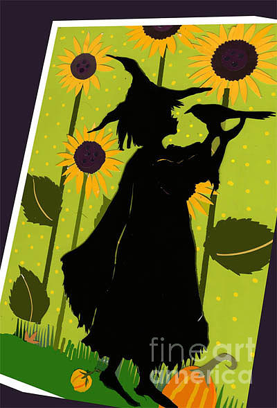 Papercut Mixed Media - Sunflower Witch by Nancy Michalak