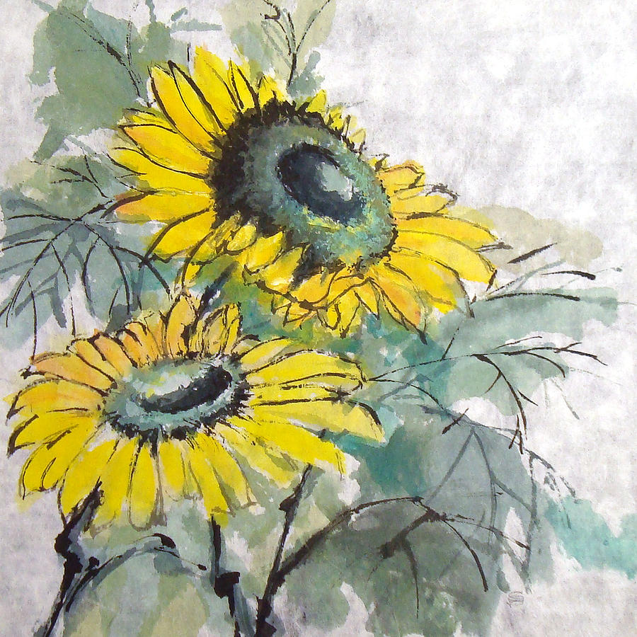 Sunflowers 1 Painting  - Sunflowers 1 Fine Art Print