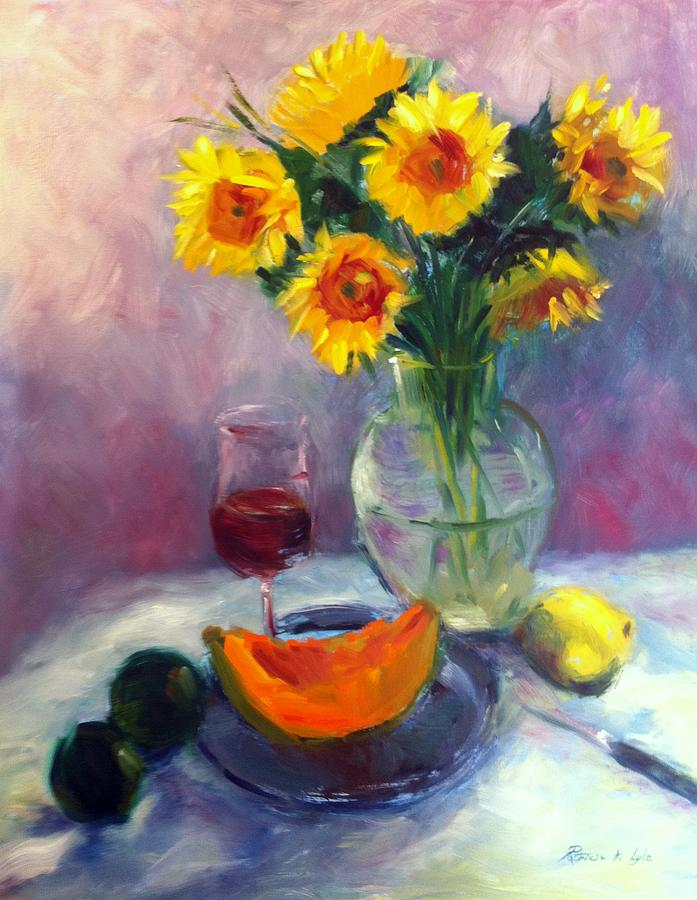 Sunflowers And Cantaloupe Painting  - Sunflowers And Cantaloupe Fine Art Print