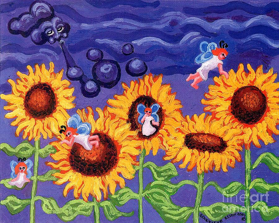 Sunflowers And Faeries Painting  - Sunflowers And Faeries Fine Art Print
