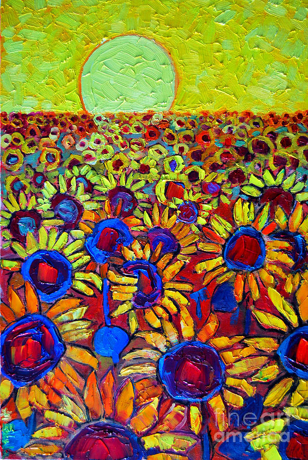Sunflowers Field At Sunrise Painting