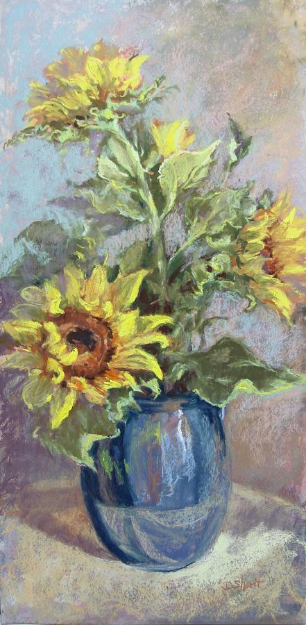 Sunflowers In Blue Vase Painting  - Sunflowers In Blue Vase Fine Art Print