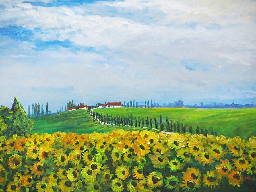 Landscape Painting - Sunflowers In Chianti by Heidi Patricio-Nadon