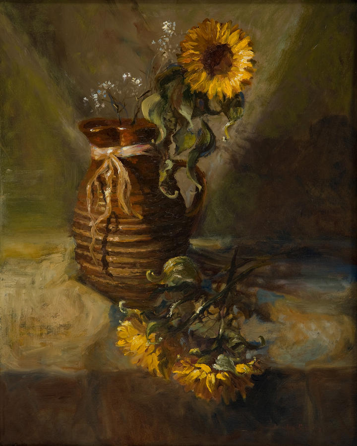 Sunflowers In Clay Pitcher Painting  - Sunflowers In Clay Pitcher Fine Art Print
