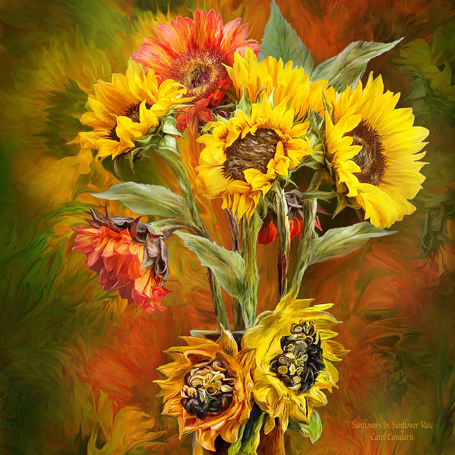Sunflowers In Sunflower Vase - Square by Carol Cavalaris