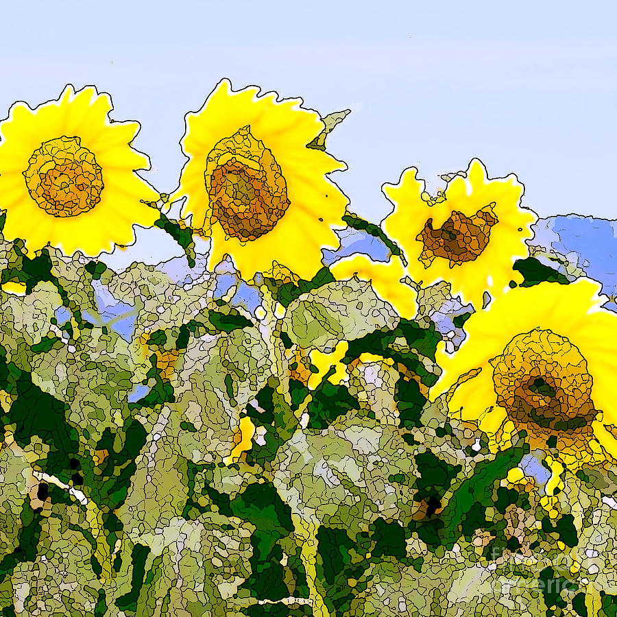 Sunflowers Sunbathing Painting  - Sunflowers Sunbathing Fine Art Print