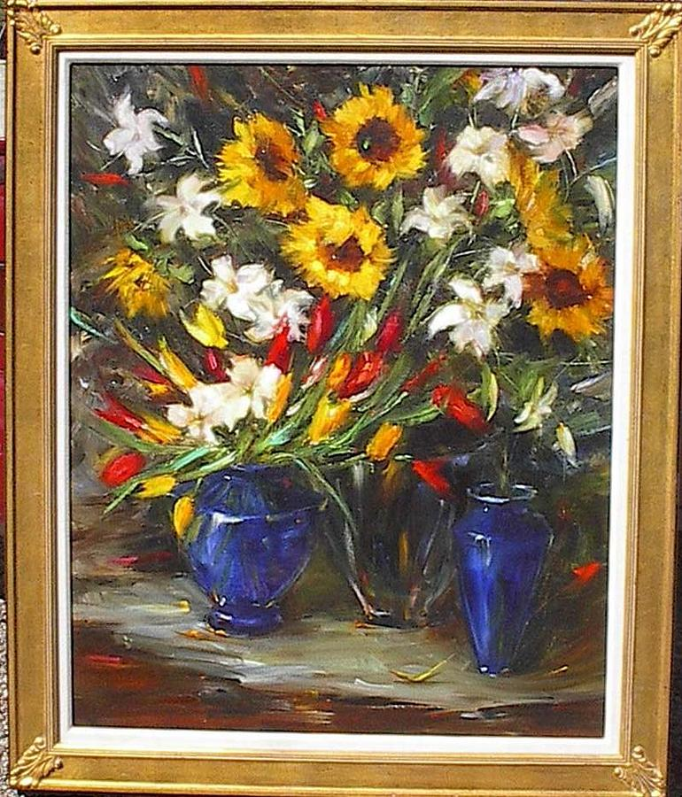 Sunflowers Tulips And Lilies Painting