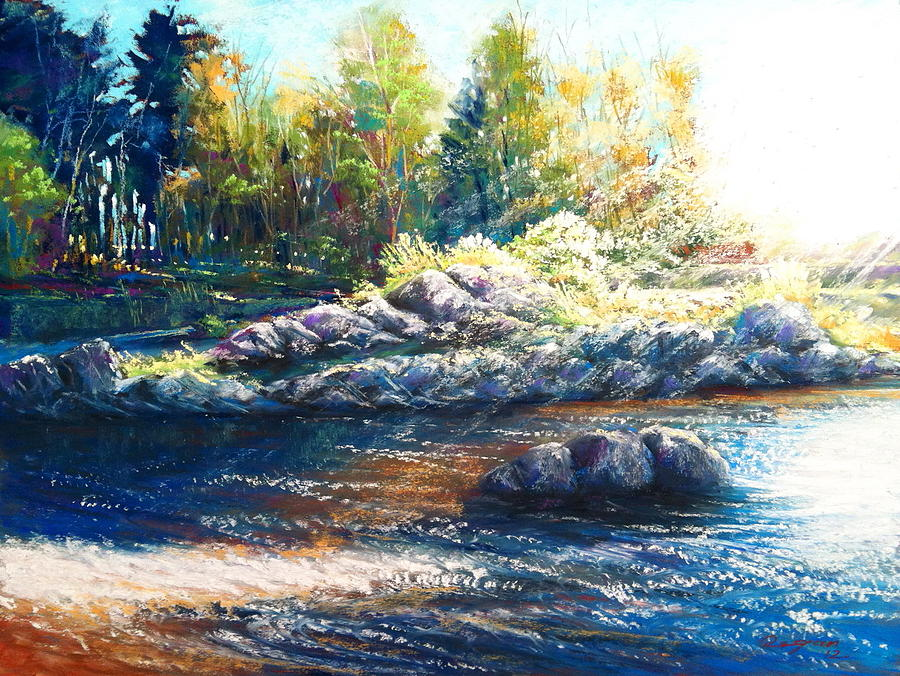 Landscape Pastel - sunlight over the Sneem River by Roman Burgan