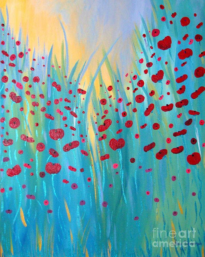 Sunlit Poppies Painting  - Sunlit Poppies Fine Art Print