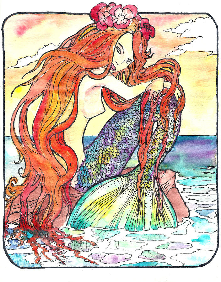 Sunning Mermaid Painting