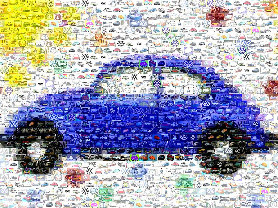 Sunny Blue Vw Bug Mosaic Digital Art
