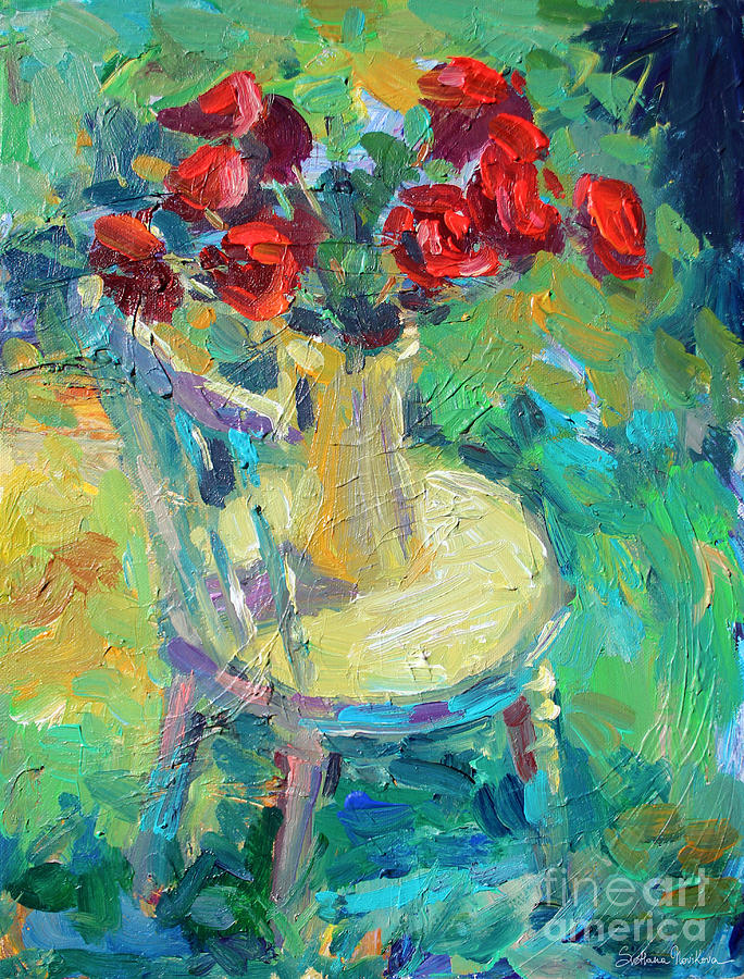 Sunny Impressionistic Rose Flowers Still Life Painting Painting