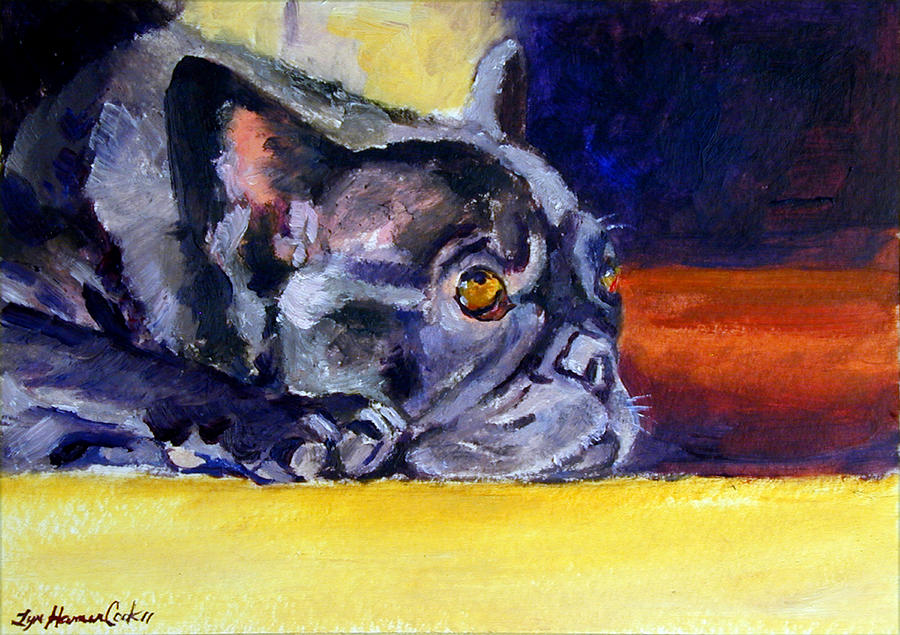 Sunny Patch French Bulldog Painting  - Sunny Patch French Bulldog Fine Art Print