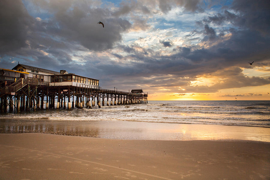 Sunrise At Cocoa Beach Pier Photograph