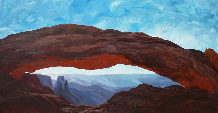 Sunrise At Mesa Arch Painting  - Sunrise At Mesa Arch Fine Art Print