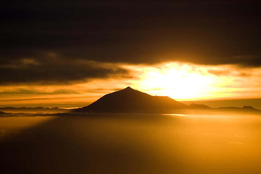 sunrise behind Mount Teide Photograph  - sunrise behind Mount Teide Fine Art Print