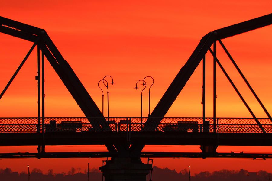 Walnut Street Bridge Photograph - Sunrise Walnut Street Bridge by Tom and Pat Cory