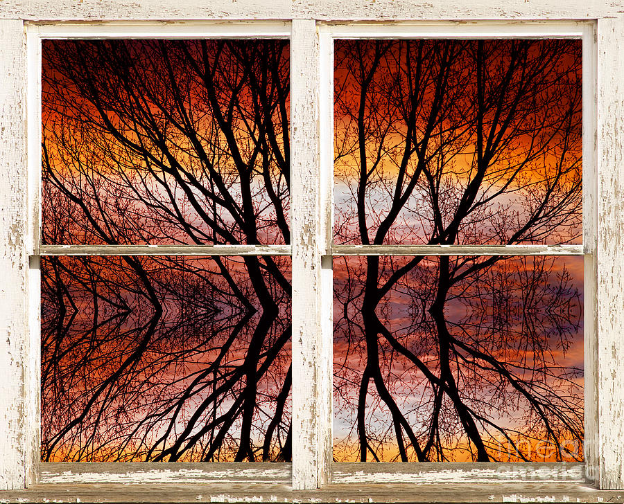 Sunset Abstract Rustic Picture Window View Photograph  - Sunset Abstract Rustic Picture Window View Fine Art Print