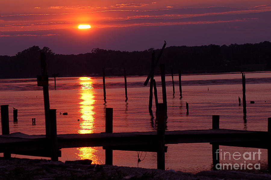 Sunset At Colonial Beach Photograph  - Sunset At Colonial Beach Fine Art Print
