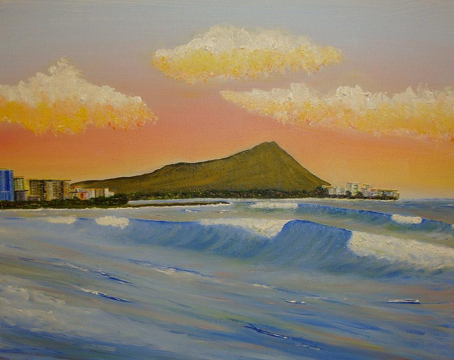 Sunset At Diamond Head Painting  - Sunset At Diamond Head Fine Art Print