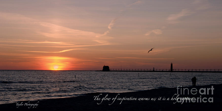 Sunset At Grand Haven Light Jewelry  - Sunset At Grand Haven Light Fine Art Print