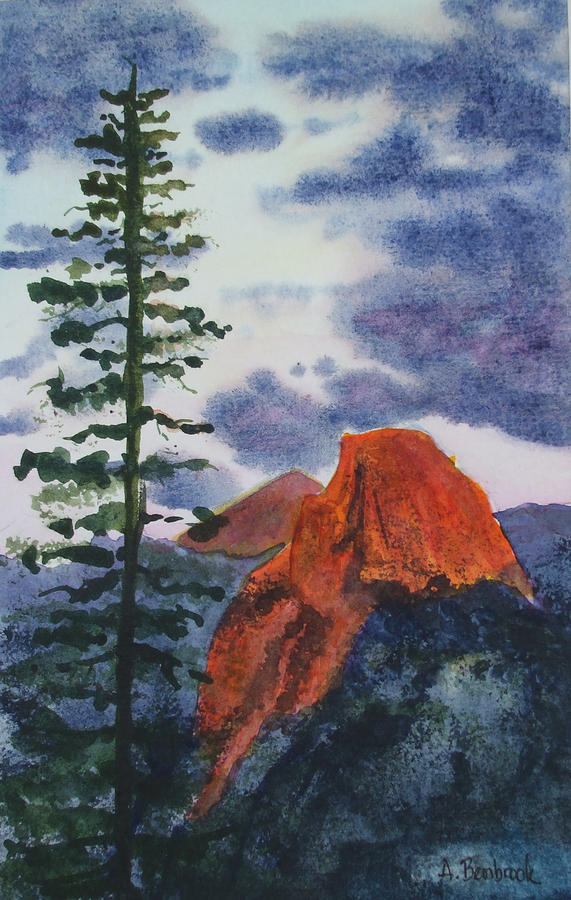 Sunset At Half Dome Painting  - Sunset At Half Dome Fine Art Print