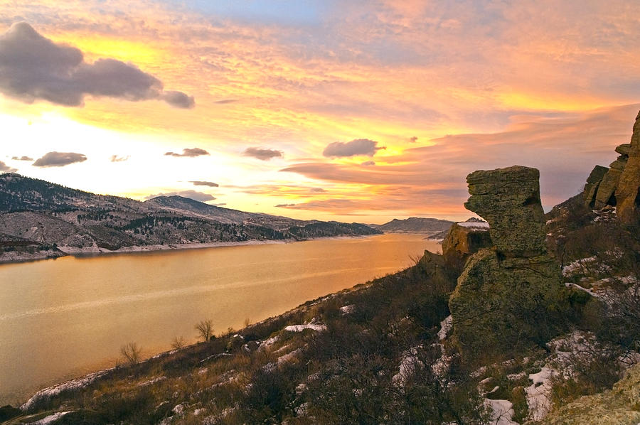Sunset At Horsetooth Dam Co. Photograph  - Sunset At Horsetooth Dam Co. Fine Art Print
