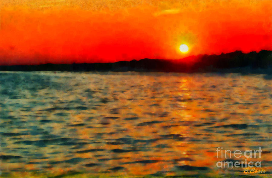 Sunset At Sea Painting  - Sunset At Sea Fine Art Print
